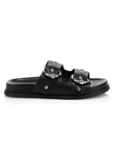 Rebecca Minkoff Vachel Metallic Buckled Slides