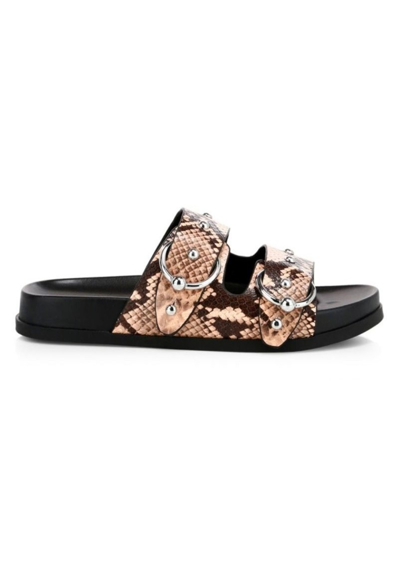 Rebecca Minkoff Vachel Too Snakeskin Print Leather Slide Sandals