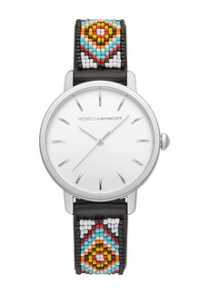 Rebecca Minkoff Women's BFFL Beaded Leather Strap Watch, 36mm