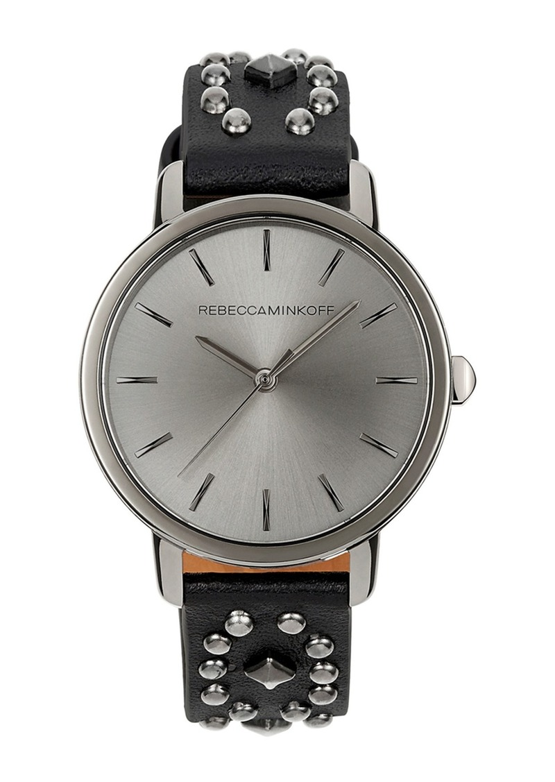 Rebecca Minkoff Women's BFFL Studded Leather Strap Watch, 36mm