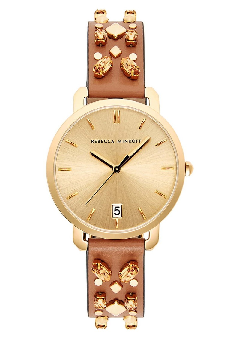 Rebecca Minkoff Women's Billie Studded Leather Strap Watch, 34mm
