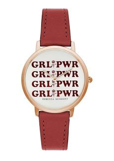 Rebecca Minkoff Women's Major GRL PWR Leather Strap Watch, 35mm