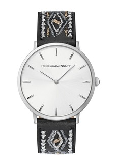 Rebecca Minkoff Women's Major Leather Strap Watch, 40mm