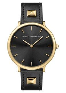 Rebecca Minkoff Women's Major Stud Leather Strap Watch, 35mm