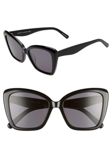 Women's Rebecca Minkoff 55mm Cat Eye Sunglasses - Black/ Grey Blue