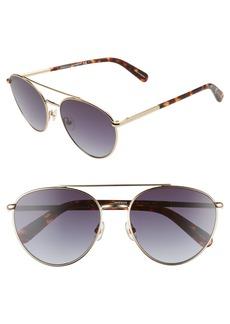 Women's Rebecca Minkoff Indio 57mm Aviator Sunglasses - Light Gold/ Dark Grey