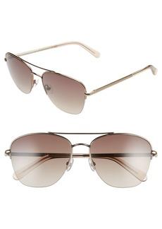 Women's Rebecca Minkoff Indio2 57mm Aviator Sunglasses - Light Brown/ Brown Gradient