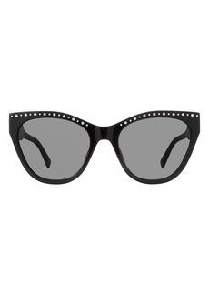 Women's Rebecca Minkoff Martina 55mm Studded Eye Sunglasses - Black/ Grey Blue