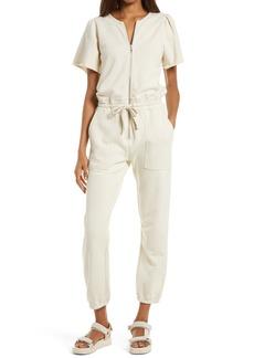 Women's Rebecca Minkoff Mila Zip Front Short Sleeve Cotton Jumpsuit