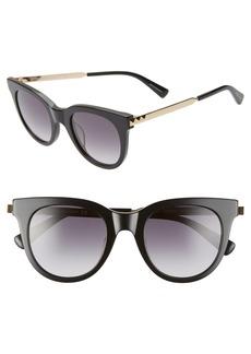 Women's Rebecca Minkoff Stevie 49mm Round Sunglasses - Black Gold/ Dkgray Gradient