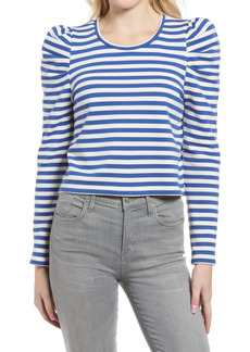 Women's Rebecca Minkoff Talia Stripe Crop Puff Sleeve Cotton Sweatshirt