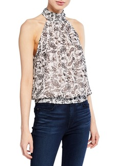 Rebecca Minkoff Zuki High-Neck Blouson Tie-Back Top