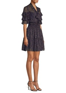 Rebecca Taylor Abstract Polka Dot Ruffle Sleeve Mini Dress
