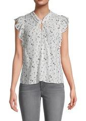 Rebecca Taylor Adelaide Floral Flutter-Sleeve Silk-Crepe Top