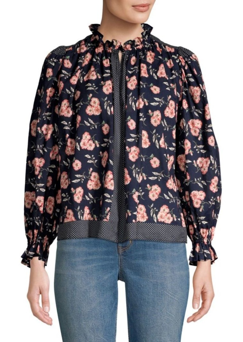 Rebecca Taylor Adelle Floral Ruffle Blouse