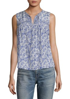 Rebecca Taylor Aimee Floral Sleeveless Silk Top
