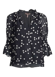 Rebecca Taylor Alessandra Floral Embroidered Blouse