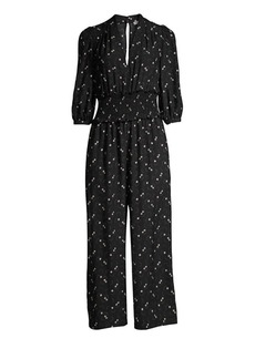 Rebecca Taylor Alisia Floral Smocked Cropped Jumpsuit