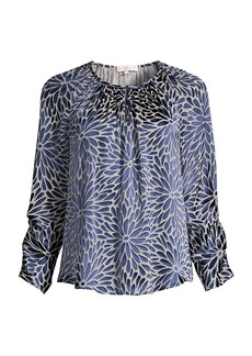 Rebecca Taylor Autumn Bloom Long-Sleeve Blouse
