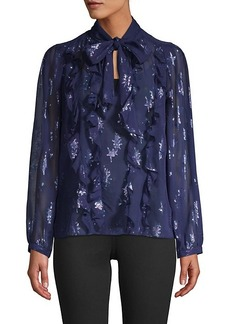Rebecca Taylor Beaded Silk Pussycat Bow Blouse