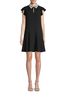 Rebecca Taylor Embellished Collar Flounce Dress