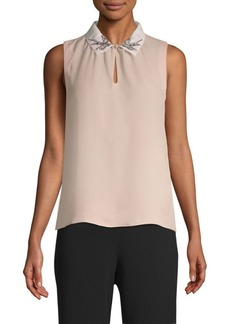Rebecca Taylor Embellished Sleeveless Silk Blouse