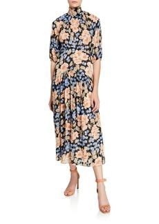 Rebecca Taylor Blush Rose Tie-Neck Clip Dress