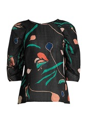 Rebecca Taylor Botanical Bloom Puff-Sleeve Blouse