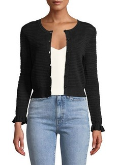Rebecca Taylor Button-Front Pointelle-Mix Cardigan