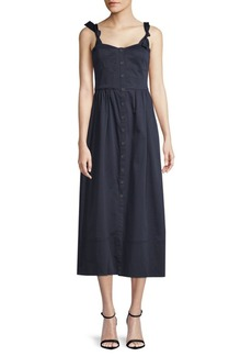 Rebecca Taylor Buttoned Sleeveless Midi Dress