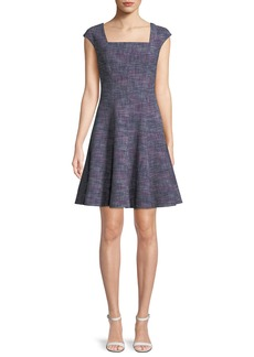 Rebecca Taylor Cap-Sleeve Tweed Knee-Length Dress