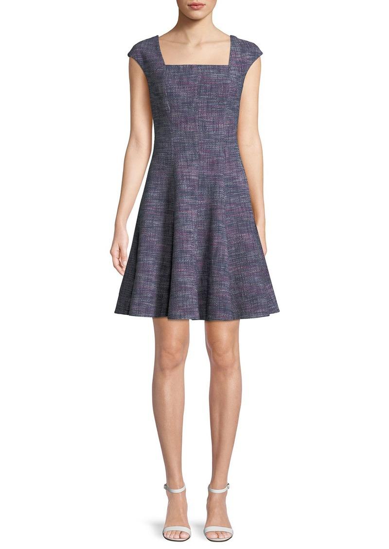 Rebecca Taylor Cap-Sleeve Tweed Knee-Length Dress