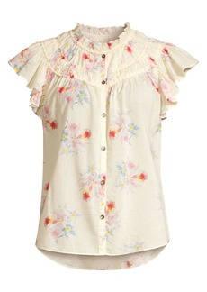 Rebecca Taylor Catrine Floral Ruffle Sleeve Blouse
