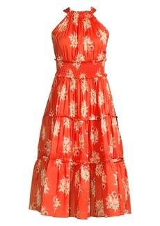 Rebecca Taylor Catrine Sleeveless Floral Tiered Midi Dress