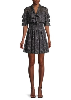 Rebecca Taylor Cheetah-Print Silk & Cotton-Blend Mini Dress