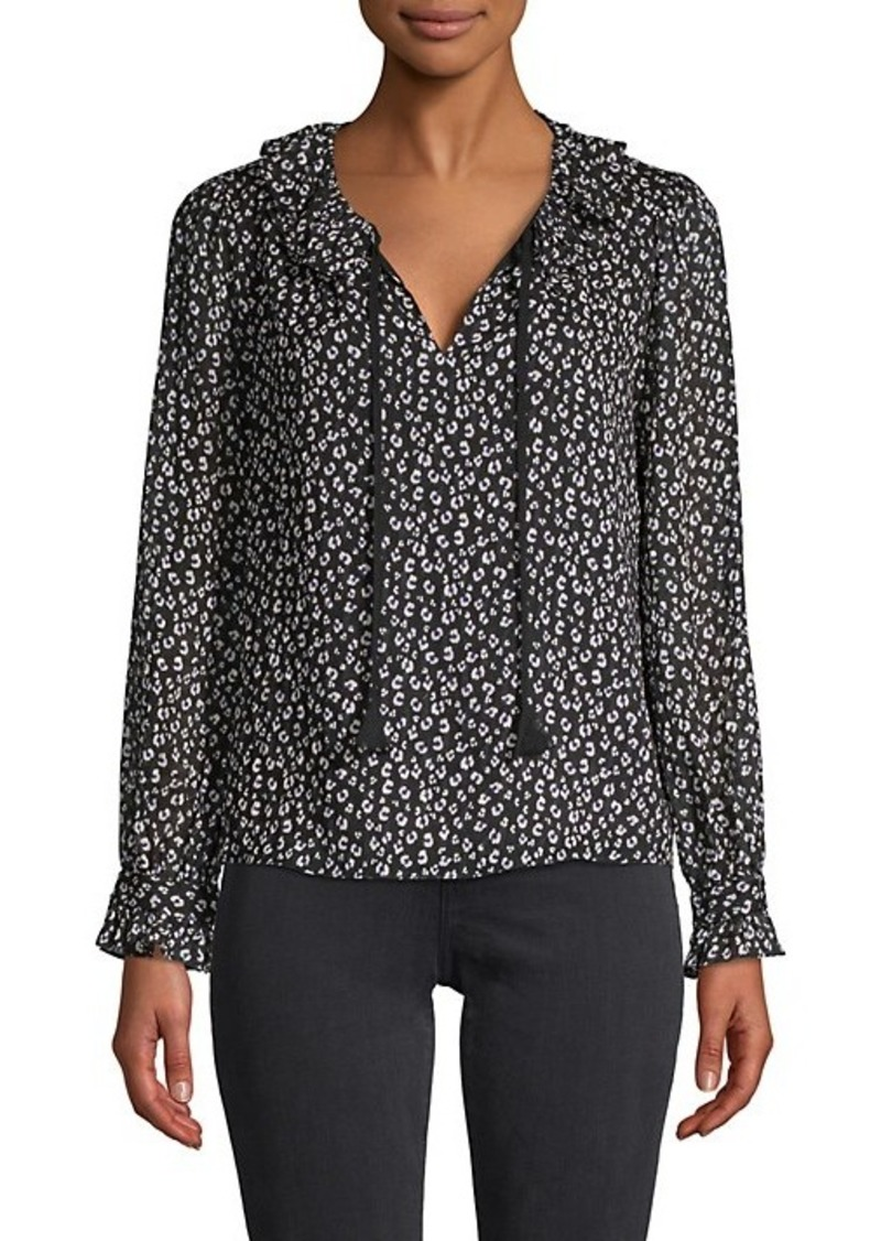 Rebecca Taylor Cheetah-Print Silk & Cotton-Blend Top