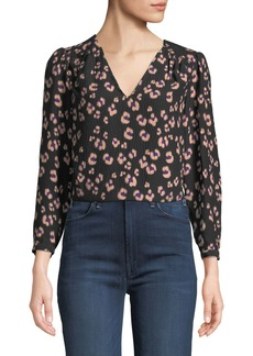 Rebecca Taylor Cheetah-Print Silk V-Neck Top