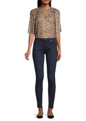 Rebecca Taylor Cheetah-Printed Silk-Blend Blouse
