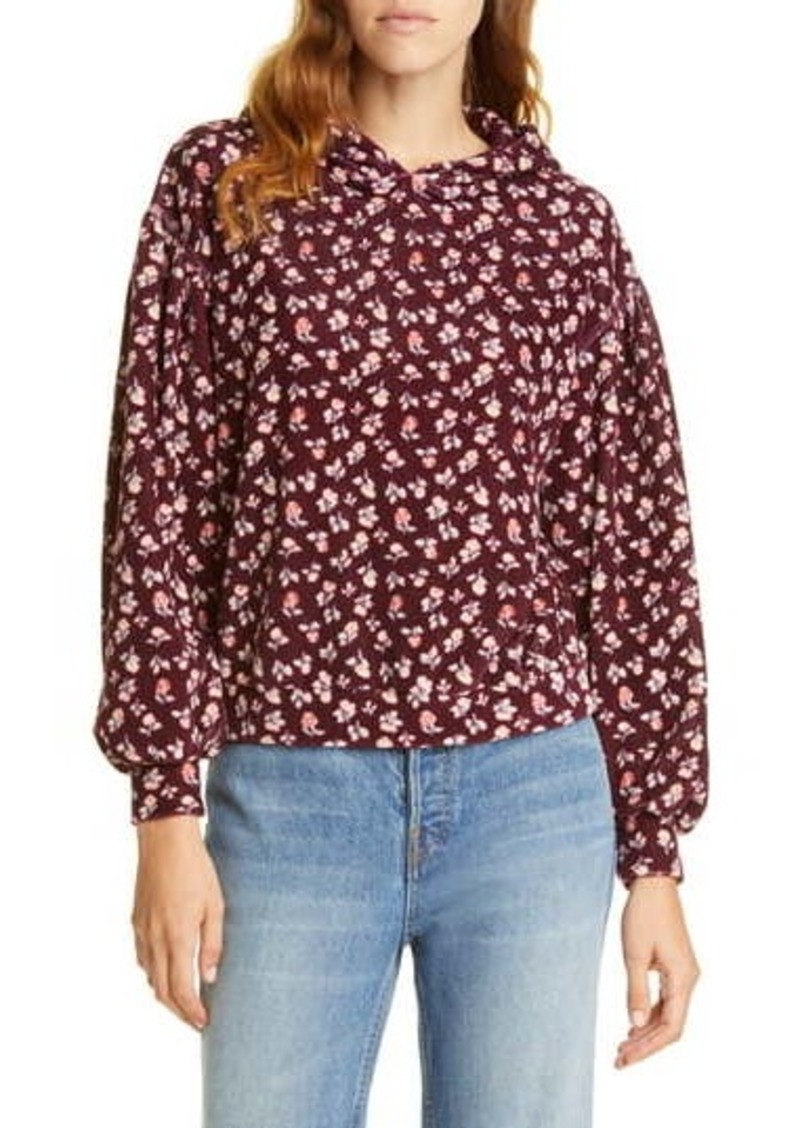 Rebecca Taylor Cherise Floral Velour Hoodie