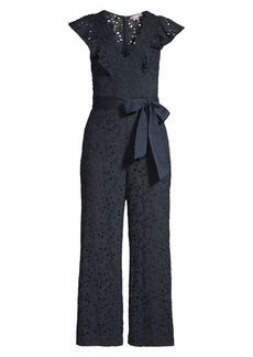 Rebecca Taylor Clover Cap-Sleeve Lace Eyelet Tie-Waist Jumpsuit