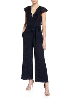 Rebecca Taylor Clover Embroidered Sleeveless Jumpsuit