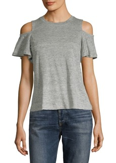 Rebecca Taylor Cold-Shoulder Linen Jersey Top
