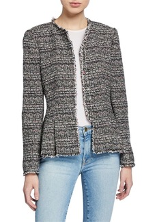 Rebecca Taylor Collarless Tweed Peplum Jacket