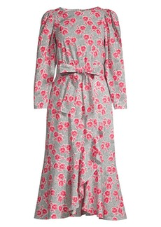 Rebecca Taylor Coral Floral Bow Dress
