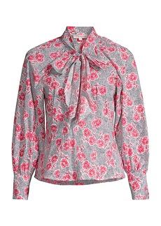 Rebecca Taylor Coral Floral Tie Top