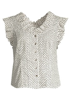 Rebecca Taylor Corinne Sleeveless Polka Dot Top