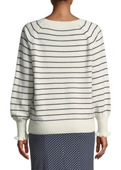 Rebecca Taylor Cozy Wool-Cotton Striped Sweater