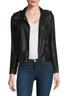 Rebecca Taylor Crackle Leather Moto Jacket