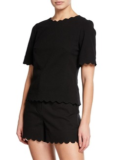 Rebecca Taylor Crewneck Short-Sleeve Scallop Top