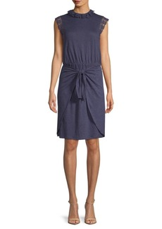 Rebecca Taylor Crochet Sleeveless Linen Dress